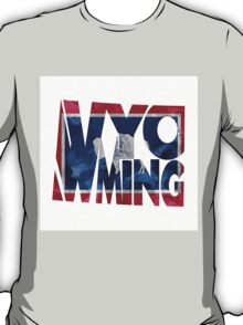 Wyoming Typographic Map Flag T-Shirt
