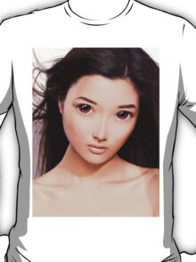 Young asian woman anime style beauty portrait art photo print T-Shirt