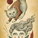 Kitty Knitting by Amalia K