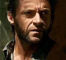Hugh Jackman Wolverine digital painting (2) by verypeculiar