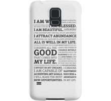 Positive Affirmations (Black on White/Grey) Samsung Galaxy Case/Skin