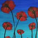 Red Poppies Blue Sky by George Hunter