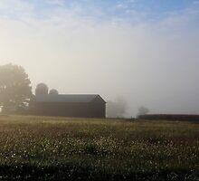 Barn lost in fog by Conjon863