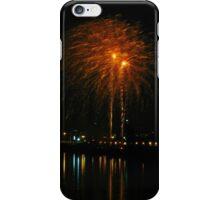 Orange fireworks over the river iPhone Case/Skin