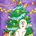 Old English Sheepdog under the tree by LiseRichardson