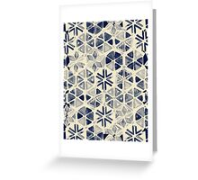 Hand Painted Triangle & Honeycomb Ink Pattern - indigo & cream Greeting Card