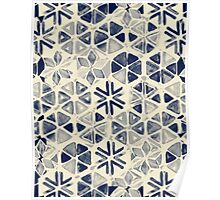Hand Painted Triangle & Honeycomb Ink Pattern - indigo & cream Poster