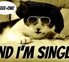 """Cute Cat with glasses & hat """"And I'm Single!"""" by smilku"""