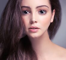 Young woman anime style beauty portrait with beautiful large gray eyes art photo print by ArtNudePhotos