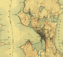 Vintage Seattle Map by AndrewFare