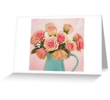 A bouquet of Salmon Roses in a Teal Vase Greeting Card