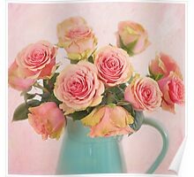 A bouquet of Salmon Roses in a Teal Vase Poster