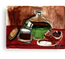 Still Life (Olive Oil,Spice & Melon) Canvas Print