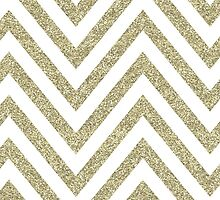 MODERN CHEVRON PATTERN bold gold glitter white by Kat Massard