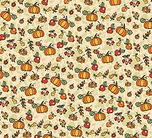 Autumn harvest fruit,pumpkin .Doodle  pattern by Tatiakost