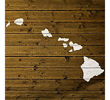 Map Of Hawaii State Outline White Distressed Paint On Reclaimed Wood Planks. Photographic Print
