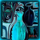 BLUE ABSTRACT POTTERY by Sherri     Nicholas