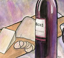 Wine and Cheese Tonight by Roz Abellera Art Gallery