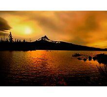 Amber Glow At Big Lake Photographic Print