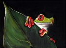 Midnight Mischief  -  Original Painting Red-Eyed Tree Frog by Rebecca Rees