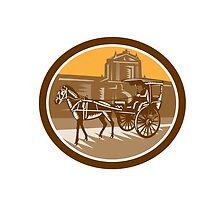 Horse-Drawn Carriage Intramuros Woodcut Retro by patrimonio
