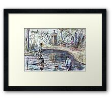 Young Boy at the Duck Pond Framed Print