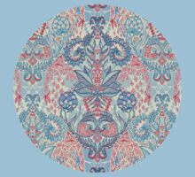 Botanical Geometry - nature pattern in red, blue & cream Kids Clothes