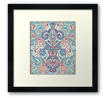 Botanical Geometry - nature pattern in red, blue & cream Framed Print