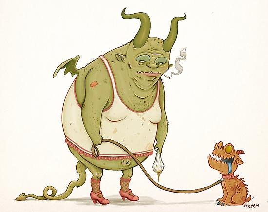 A demon and his dog... by Stieven Van der Poorten