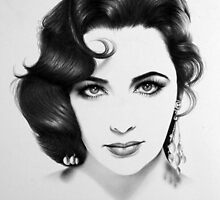 Elizabeth Taylor Minimal Portrait by IleanaHunterArt