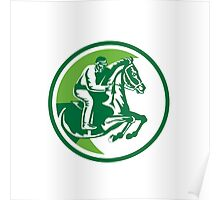 Equestrian Show Jumping Side Circle Retro Poster