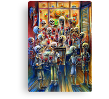 Skeleton Wine Party Canvas Print