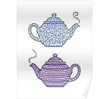 Patterned Teapots Poster