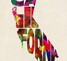 California Typographic Watercolor Map by A. TW