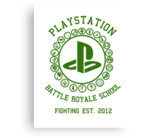 Playstation Battle Royale School (Green) Canvas Print