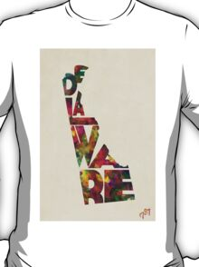 Delaware Typographic Watercolor Map T-Shirt