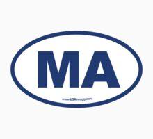 Massachusetts MA Euro Oval BLUE by USAswagg