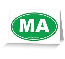 Massachusetts MA Euro Oval GREEN Greeting Card