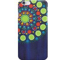 dots on dark blue background (1) iPhone Case/Skin