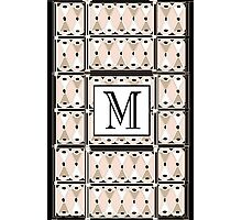 1920s Pink Champagne Gatsby Monogram letter M Photographic Print