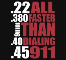 Cool Gun Owner's 'All Faster Than Dialing 911' T-Shirt by Albany Retro