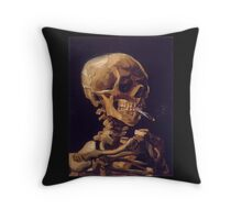 Vincent Van Gogh's 'Skull with a Burning Cigarette'  Throw Pillow