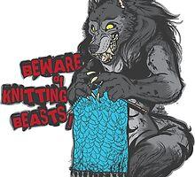 Beware of Knitting Beasts - dark fabric by ImpyImp