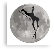 Pole Vaulter Moon Metal Print