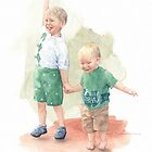 Jumping baby brothers watercolor by Mike Theuer