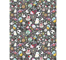 pattern of funny skulls and ghosts  Photographic Print