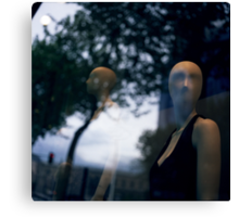 Surreal shop dummy mannequin portrait square color analogue medium format film still life Hasselblad  photo Canvas Print