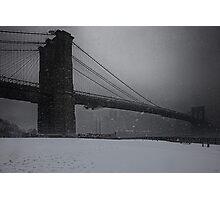 Brooklyn Bridge Blizzard Photographic Print