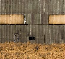 Metal Shed in a Field by broomhillphoto