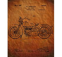 Harley Davidson Motorcycle Patent 1925 Photographic Print
